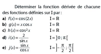 Déterminer la fonction dérivée : exercices en terminale S.