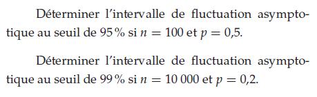 Déterminer l'intervalle de fluctuation : exercices en terminale S.