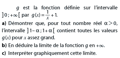 En déduire la limite de la fonction g en l'infini : exercices en terminale S.