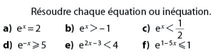 Inéquations à résoudre : exercices en terminale S.