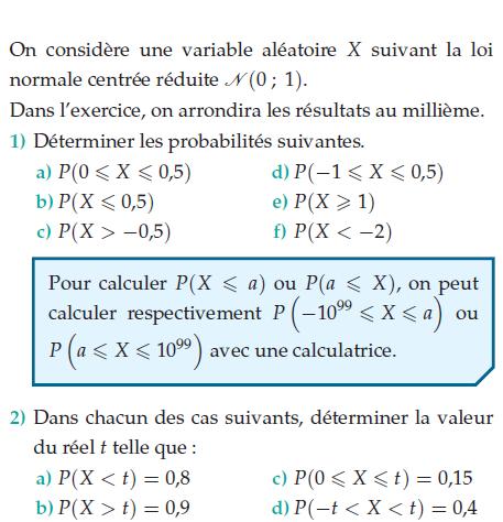 Déterminer les probabilités et la valeur du réel t : exercices en terminale S.