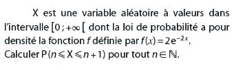 Loi de probabilité et densité : exercices en terminale S.