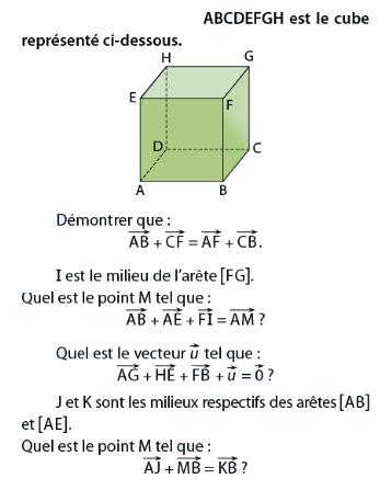 Cube et milieux d'arêtes : exercices en terminale S.