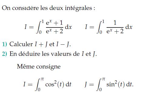 Intégration avec exponentielle, sinus et cosinus : exercices en terminale S.