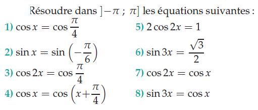 Résoudre les équations : exercices en terminale S.