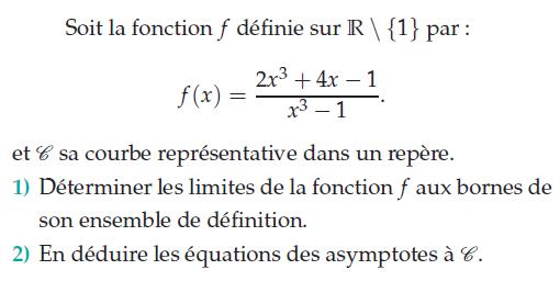 Déterminer les limites de la fonction aux bornes de son domaine de définition : exercices en terminale S.