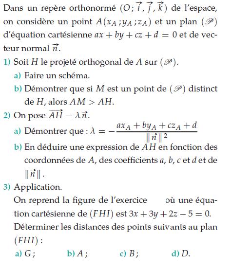 Calculer la norme du vecteur normal : exercices en terminale S.