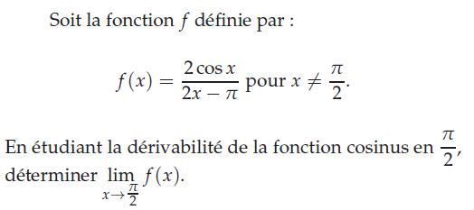 Une étude de la dérivabilité de la fonction cosinus : exercices en terminale S.