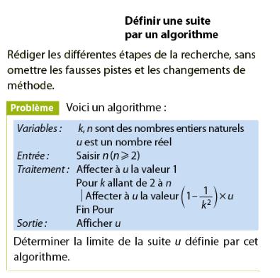 Définir une suite par un algorithme : exercices en terminale S.