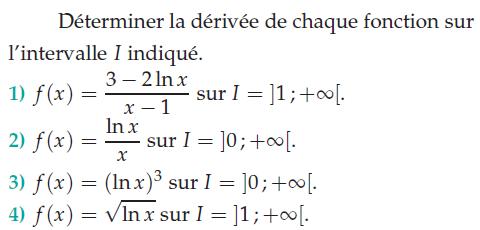 Déterminer la dérivée de chaque fonction sur l'intervalle I : exercices en terminale S.