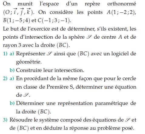 Déterminer les points d'intersection de la sphère de centre A : exercices en terminale S.