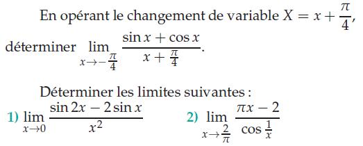Changement de variable et calcul de limite : exercices en terminale S.