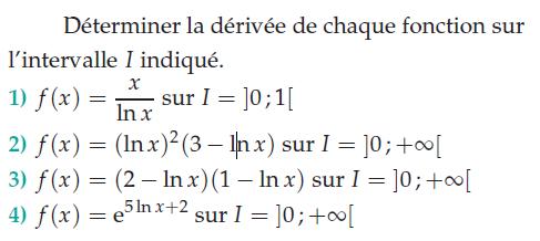 Déterminer la dérivée de chaque fonction : exercices en terminale S.