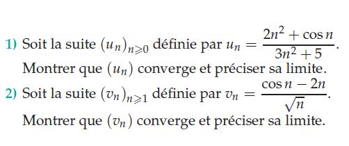 Convergence de suites et cosinus : exercices en terminale S.