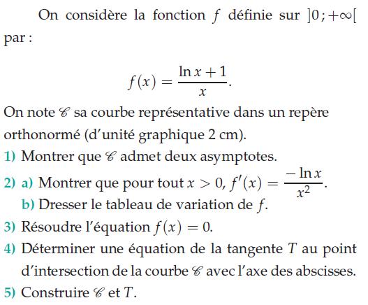 Déterminer l'équation de la tangente T : exercices en terminale S.