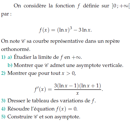 Etudier la limite et l'asymptote verticale : exercices en terminale S.