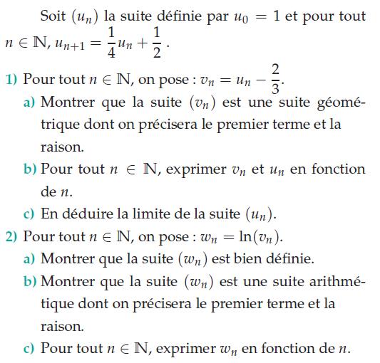 Suite géométrique et logarithme népérien : exercices en terminale S.