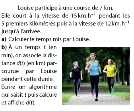 Algorithme qui affiche la distance : exercices en 2de.