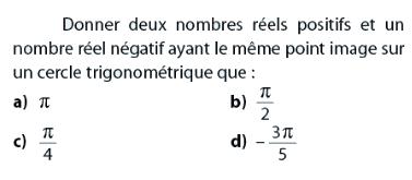 Donner des nombres ayant le même point image : exercices en 2de.