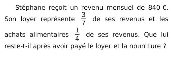 Revenu mensuel et calcul fractionnaire : exercices en 5ème.