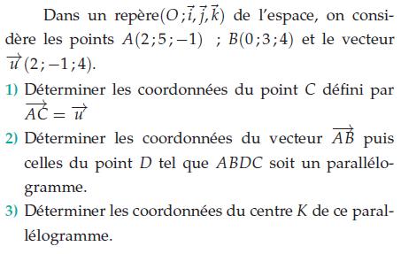 déterminer les coordonnées du vecteur : exercices en terminale S.