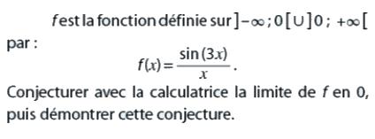 Conjecturer avec la calculatrice une limite : exercices en terminale S.