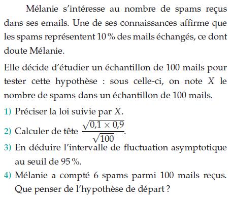 Nombre de spams reçus dans ses emails : exercices en terminale S.