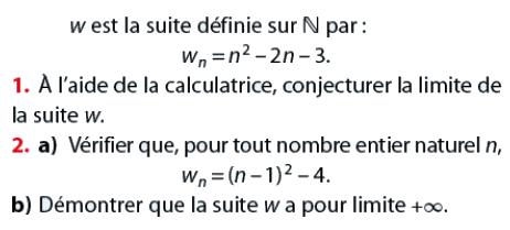 Sémontrer que la suite a pour limite l'infini : exercices en terminale S.