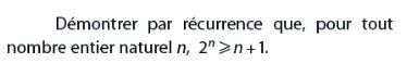 Démontrar par récurrence que pour tout entier n : exercices en terminale S.