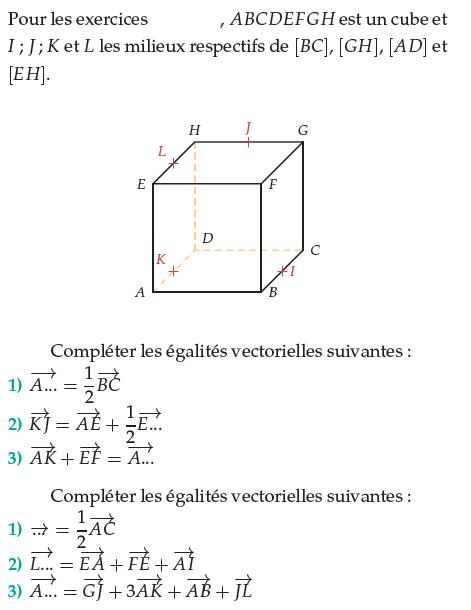 Compléter les égalités vectorielles : exercices en terminale S.