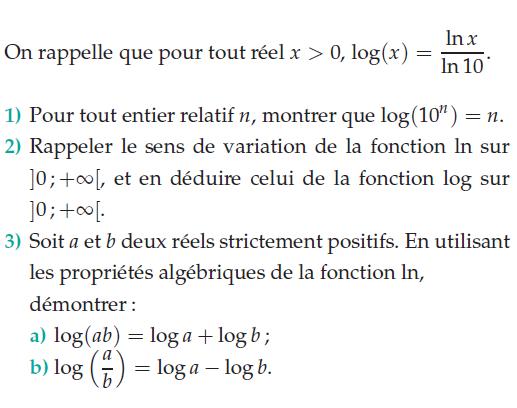 Logarithme décimal et népérien : exercices en terminale S.