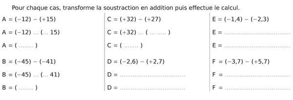 Effectuer les calculs : exercices en 5ème.