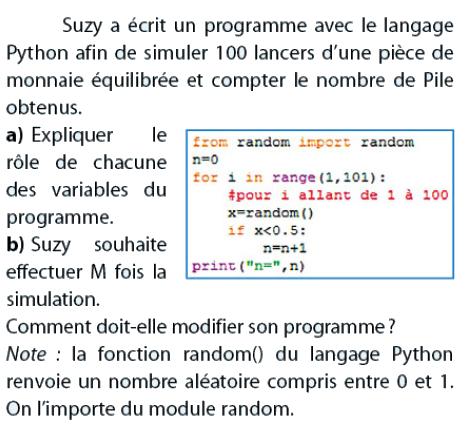 Simuler 100 lancers avec Python : exercices en 2de.