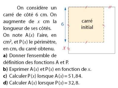Problème de carré et fonctions : exercices en 2de.