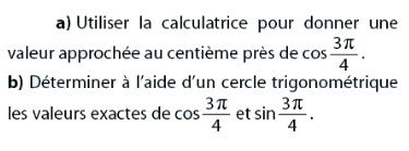 Trigonométrie et calculatrice : exercices en 2de.