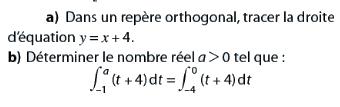 Déterminer le nombre a et intégrales : exercices en terminale S.