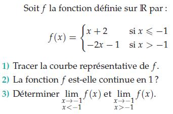LA fonction f est-elle continue en 1 ? : exercices en terminale S.