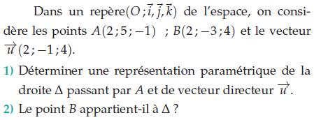 Déterminer une représentation paramétrique : exercices en terminale S.