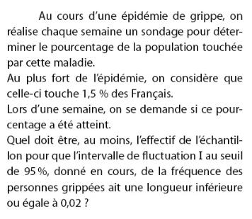 Une épidémie de grippe et effectif de l'échantillon : exercices en 2de.