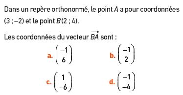 Calculer les coordonnées du vecteur : exercices en 2de.
