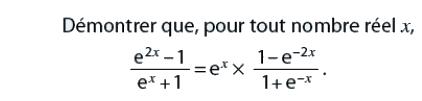 Démontrer une égalité avec des exponentielles : exercices en terminale S.