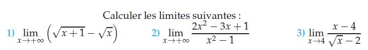 Limite de fonctions et racines carrées : exercices en terminale S.