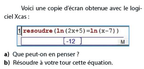 Logiciel Xcas et logarithmes : exercices en terminale S.