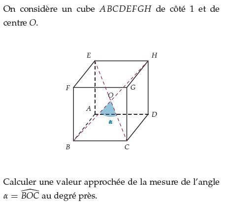 Calculer une valeur approchée de la mesure de l'angle : exercices en terminale S.