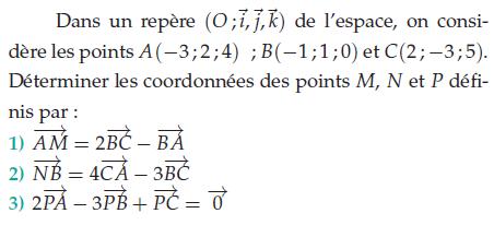 Déterminer les coordonnées  des points : exercices en terminale S.