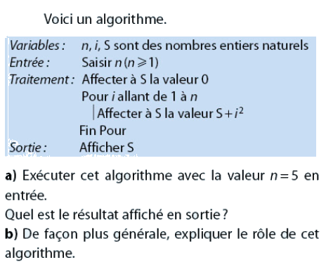Un algorithme à étudier : exercices en 2de.