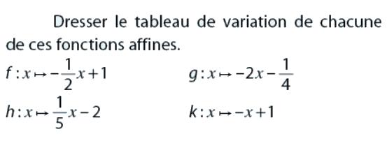 Tableau de variation de fonctions affines : exercices en 2de.