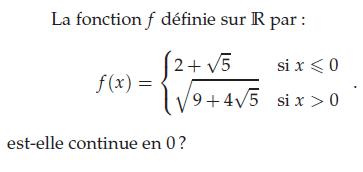Fonction et continuité en 0 : exercices en terminale S.