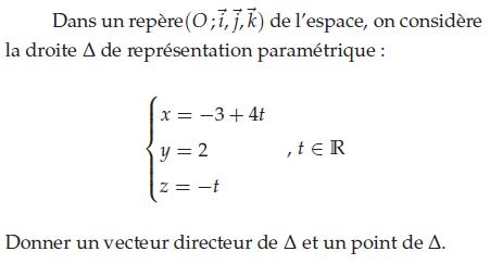 Représentation paramétrique et vecteur directeur : exercices en terminale S.