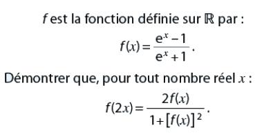 Une égalité et une fonction : exercices en terminale S.